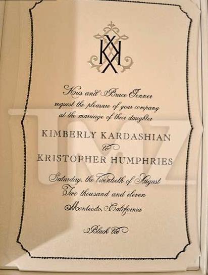 Kim Kardashian and Kris Humphries' Wedding Invitation