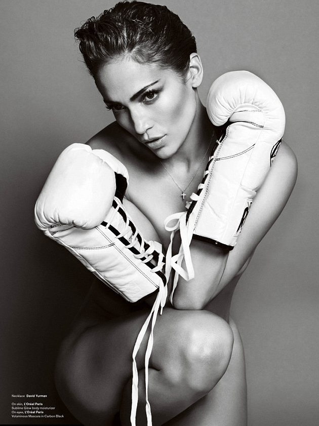 Sexy Pics: Jennifer Lopez Tough and Topless For V Magazine