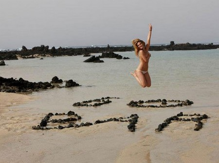 Bar Rafaeli TOPLESS Jumps For Joy On The Beach