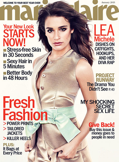 Glee Star Lea Michele: Dishes On Boobs, Boyfriend to Marie Claire